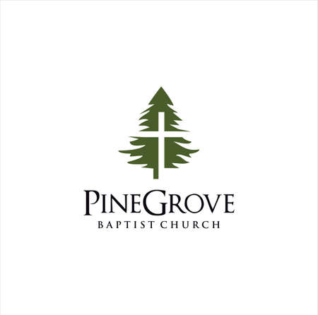 pine evergreen fir Tree Church Logo Design Template . hemlock spruce Cross Logo Vintage . conifer cedar coniferous Cristian Logo Hipster Retro. larch pinus cypress Church Baptist Logo Icon . Illustration