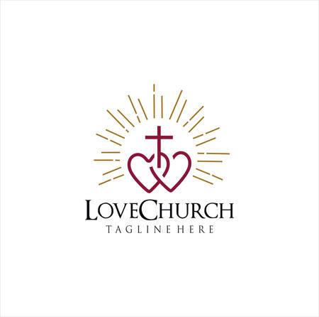 Heart Cross Logo Design . Love Church Logo Icon Symbol On White