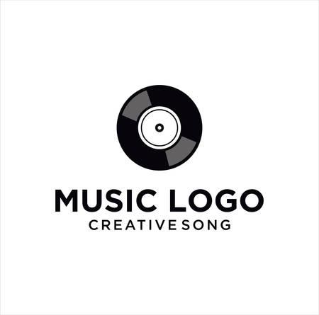 Vinyl Music Disc Logo silhouette Vintage Icon Design Vector Stock Vettoriali