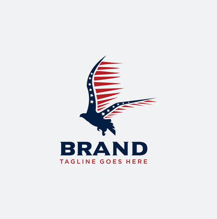America Eagle Logo Design Vector . Eagle fly logo Design Vector Illustration Çizim