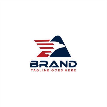 Triangle Eagle Logo Design Illustration . Letter A Eagle Logo . Modern America Eagle Logo Design .