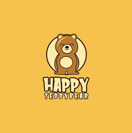 Bear cute Logo Design Illustration . Happy bear logo Design Vector Stock . Little teddy Kids Logo Funny Vectores