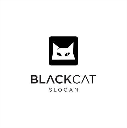 Creative Black Cat Logo Design Vector Stock . Square Cat Logo Design silhouette