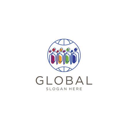 Global Group People Logo . People human world earth global logo  イラスト・ベクター素材