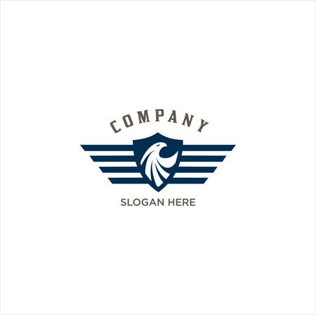 eagle shield wings logo. Eagle Logo abstract design vector template Wings Logo.Aircraft Logo icon.Linear Flying Airlines Logotype.