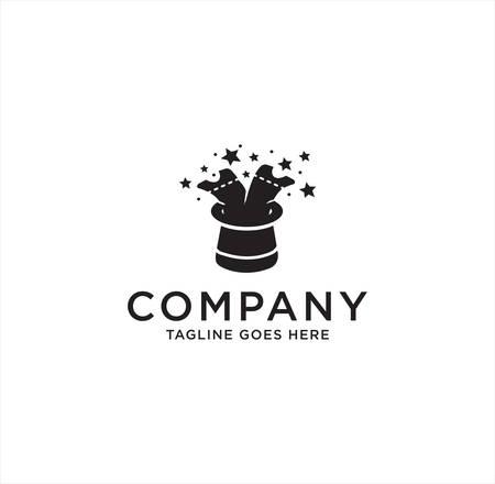Magic Ticket Logo Design Template Vector with a white background . Magic Hat Logo Black Logo Icon Stock Vector