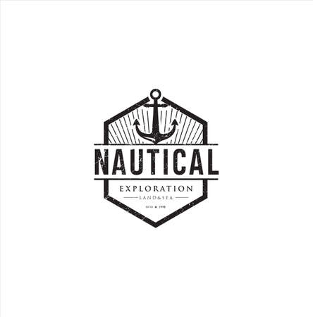 Nautical Logo Badges And Labels Royalty Free Cliparts, Vectors, And Stock Illustration . Vintage marine Nautical Logo rope Hipster Retro