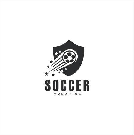 Shield Football Soccer Logo Sport Design with a White background . Shield Ball Logo Vector Stock