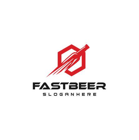 Fast Beer Delivery Logo Design Template Vector . Fast Beer Icon Logo Design Element