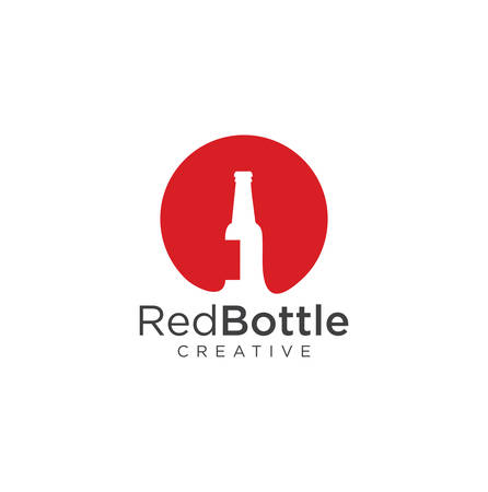 Wine bottle logo wine house red label . Beer Delivery Logo Design Template Vector Ilustracja