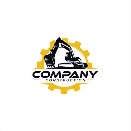 Excavator logo template vector illustration. Heavy equipment logo vector for construction company. Creative excavator and Backhoe logo design illustration . Logo