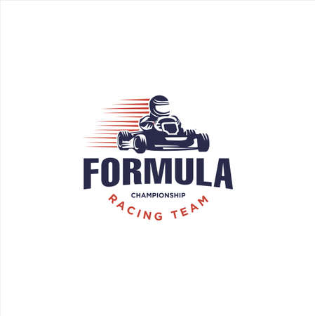 Karting race symbol logo emblem template vector image . Go kart logo Vector . Kart driver sport logo icon.Man drive kart in helmet background design