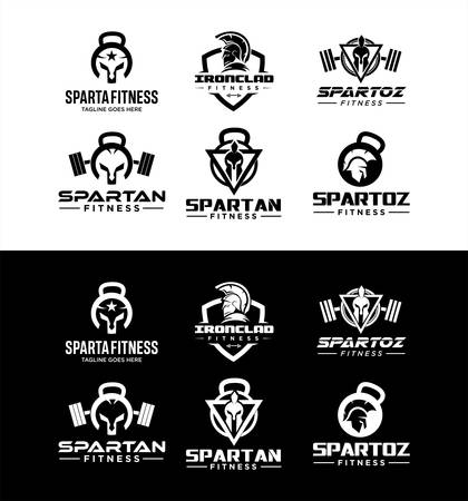 Set Of Spartan Fitness And Gym Logo silhouette Vector . Fitness Logo . Bodybuilding Logo design inspiration
