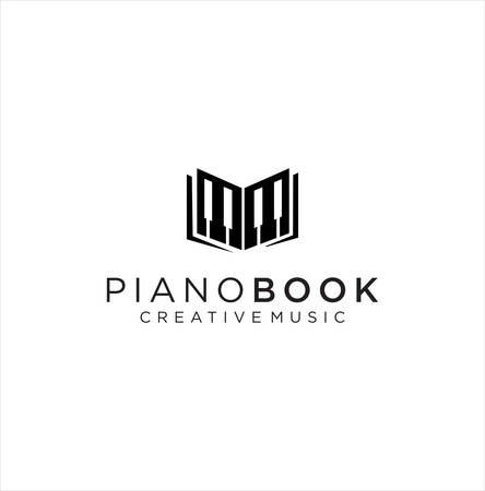 Piano Book logo design Retro Hipster Stock Illustration . Music Piano Logo . Piano concert logo design. Live music concert. Piano keys Vector