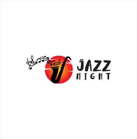 Jazz music logo . Modern professional sign logo jazz music . Saxophone logo vector illustration design Stock Illustratie
