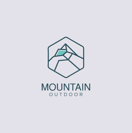 iceberg logo geometric line outline, ice peak mount stone mountain adventure icepeak geometric logo line art outline illustration.