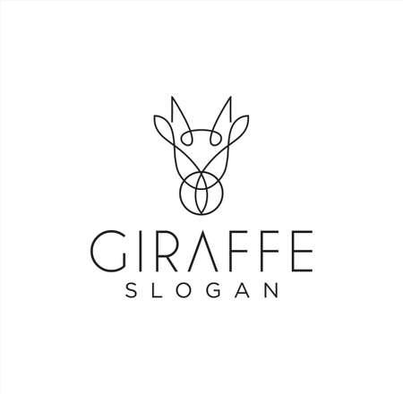 Simple Unique Ossicones Logo Line Art Design , Okapi, Giraffidae And Abstract Giraffe Logo Linear Design Template Vectores