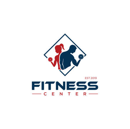 Fitness-Logo-Design-Vektor-Lager. Fitnessstudio-Logo-Vorlage. Crossfit-Logo Inspiration. Fitnesscenter-Logo Logo