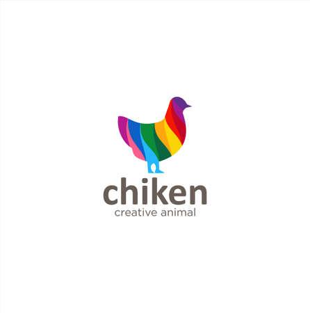 Colorful Hen Logo Icon Vector Design Creative sign . Poultry Logo Colorful Design Vector Illustration