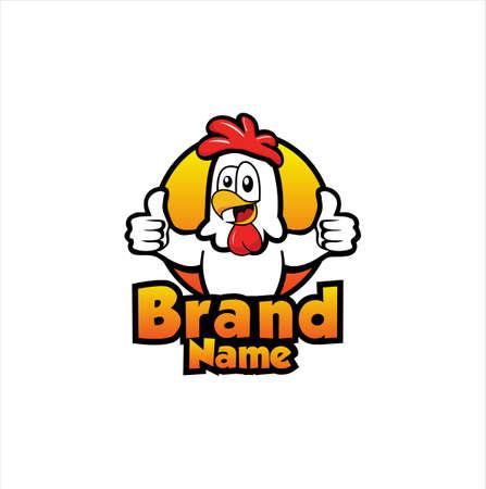 Fried Chicken Logo Design Isolated On White Background . Chicken mascot for restaurant logo