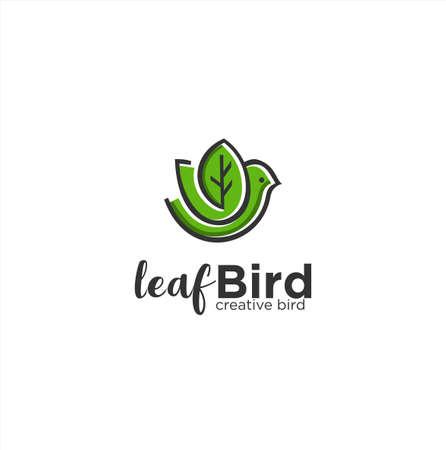 Leaf Bird Logo Nature Organic Icon Line Art Outline Template . Green leaf bird logo template Design Creative Sign .
