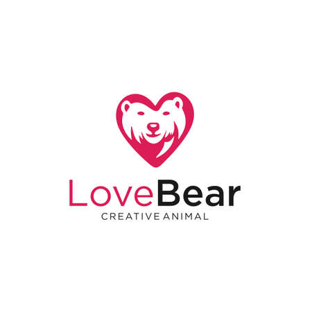 Animal Bear Love Logo Design Vector Stock. Bear Grizzly Logo Design Heart Template Illustration