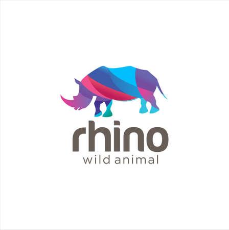 Creative Abstract Colorful Rhino Logo Icon Design Vector. Wild Animal Logo .rhinocheros Colorful Logo Design Illustration