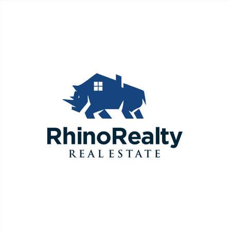 Rhino Real Estate Logo Design . Strong Rhino Home Logo Design . Building House Rhino Logo