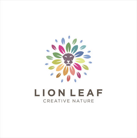 Lion Leaf Logo Nature Organic Colorful Design Vector Stock 向量圖像