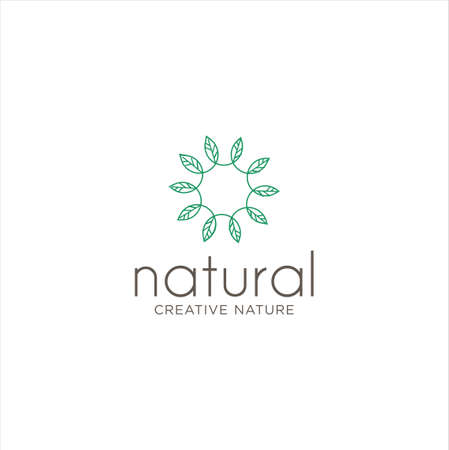 Organic Leaf Circle Logo Designs Inspiration