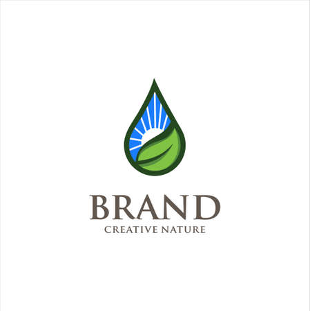 water drop sun leaf logo . nature ecology logo,plant symbol,sun power,water drop icon 向量圖像