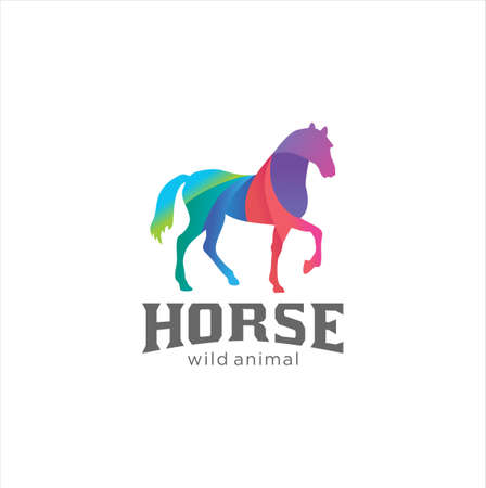 Creative Abstract Colorful Horse Logo Icon Design Vector Template Иллюстрация