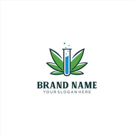 Cannabis Lab Logo design template. CBD Cannabis Marijuana Hemp Pot leaf Laboratory Logo Icon Nature Organic
