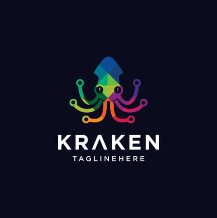 Kraken, cuttlefish, squid, Cephalopoda, Octopus Logo Tech Polygon Colorful 向量圖像