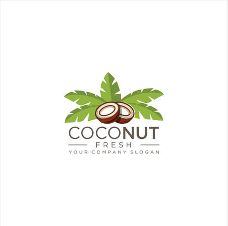 Fresh Coconut logo template design vector image 向量圖像