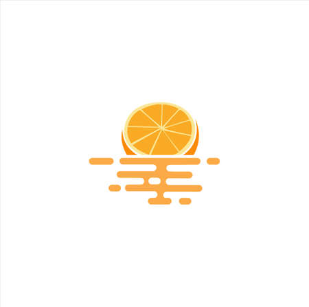 Floating Orange Fruit Logo Icon Design Vector Stock Template