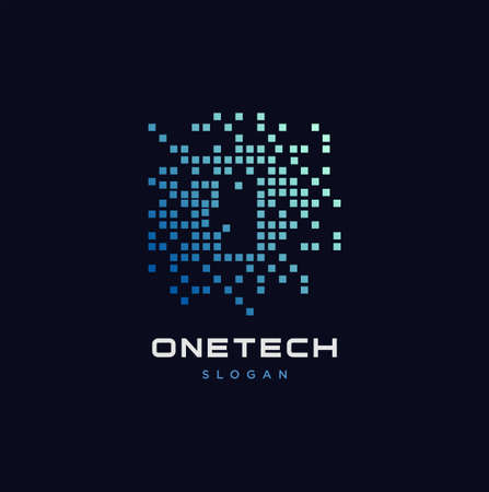 Abstract One Tech Logo Design Vector . One Digital Logo Illustration 向量圖像