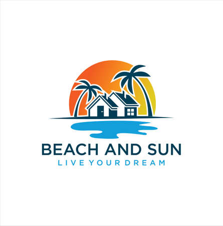 Beach House Logo Design, Real Estate Logo, Beach Resort, Village Logo, Beach Hotel Logo