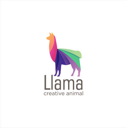 Creative Abstract Colorful LLama Logo Icon Design Vector, Animal Logo Colorful Design, Alpaca, Vicuna, Huacaya alpaca, guanaco logo Design