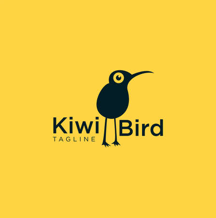 Kiwi Bird Logo Funny with a yellow background
