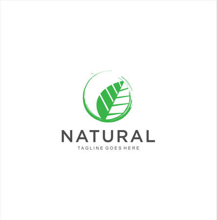 Circle Leaf Nature Logo Design Icon Vector Stock 向量圖像