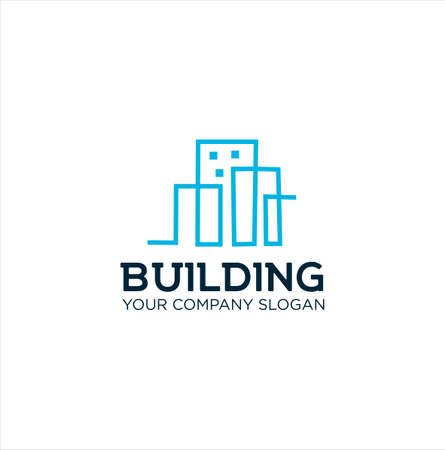 Building logo Line template. Abstract real estate vector design. Cityscape logotype