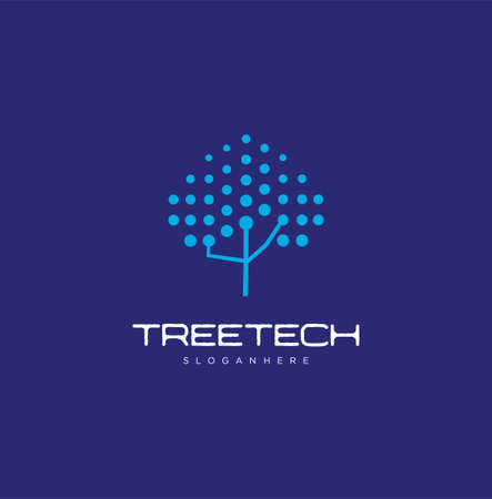 Simple Tree Tech Logo Design with a blue background. Nature Technology Design Organic