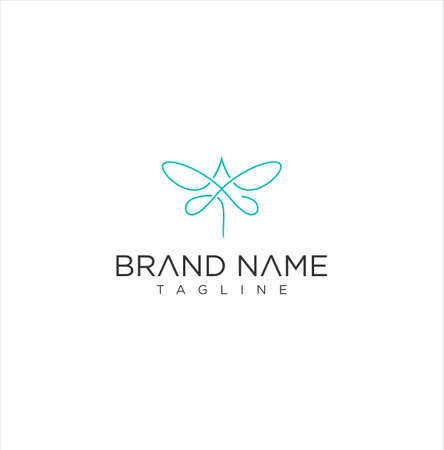 Dragonfly Logo Line Outline Monoline Icon Vector Stock