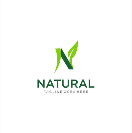 Letter n leaf nature logo Template. Abstract IAlphabet Initial N green leaf logo design vector illustration