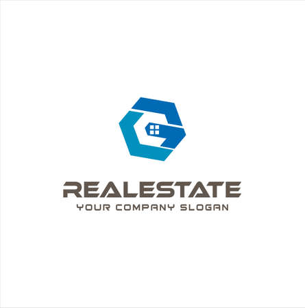 Letter G C CG Real Estate Logo Design . Initial G C CG Home Logo Vector. Hexagon House Logo Desig Template
