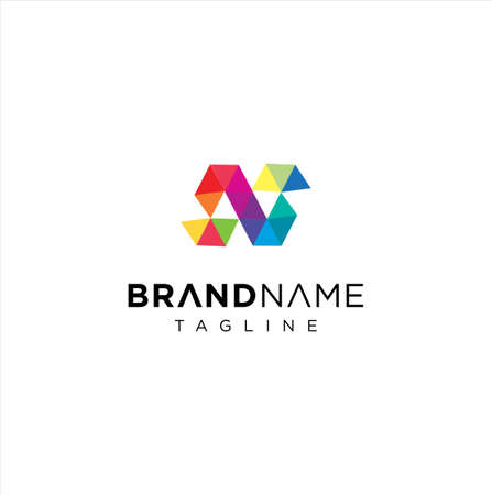 Letter N logo Pixel Triangle Geometric Colorful. Abstract Alphabet Initial N Colorful Logo 向量圖像