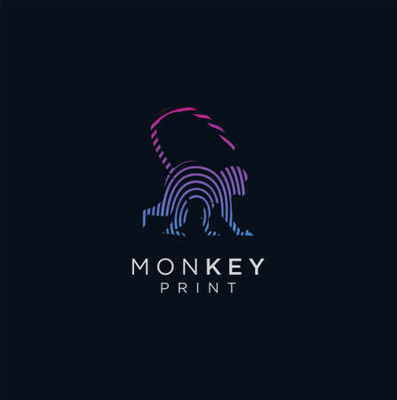 Monkey Finger Print Logo . Monkey Tech Logo Digital Design. Animal Finger Print Logo Design.