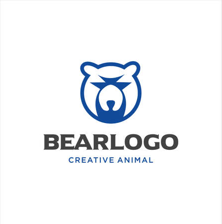 Simple Bear Head Logo illustration . Grizzly bear Head Logo design inspiration