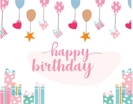 Happy birthday background in hand drawn style Vector Illustrations